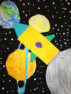 great outer space collage project for grade 1 Drawing Projects, Art Projects, Project Ideas, Science Fiction, Elementary Art Lesson Plans, Shape Collage, Universe Art, Art Classroom, Art Plastique