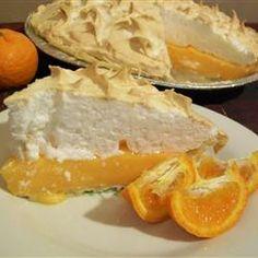 Orange Meringue Pie Recipe - Allrecipes.com  I love lemon meringue pie and I also love oranges so I can imagine this would be delicious.