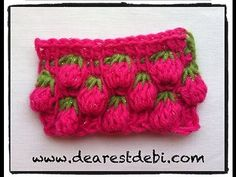 Tunisian Crochet Berry Stitch - Video Tutorial ❥ 4U // hf