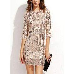 0b28115ad96 Sequin Dress O-Neck Half Sleeve Scallop Party Dress Straight Dress
