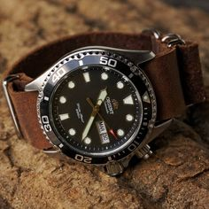 Orient Ray on a vintage leather nato strap.