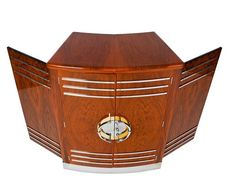 CLASSIC 30'S WALNUT & CHROME ART DECO BAR