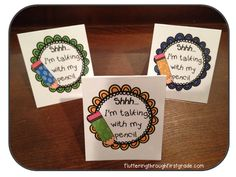 Shhh...I'm Talking With My Pencil table tents~ Created for writing time.  (Free)