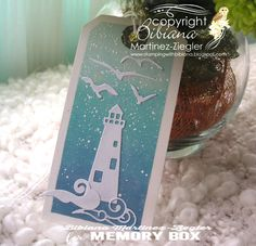 little marine tags lighthouse using Memory Box dies Memory Box Dies, Arts And Crafts, Paper Crafts, Elizabeth Craft Designs, Cool Cards, I Card, Card Making, Greeting Cards, Xmas