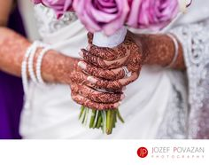 Award winning Vancouver wedding photographer Jozef Povazan Photography - Indian Henna details and engagement ring close up. From Ismaili wedding at Burnaby centre.
