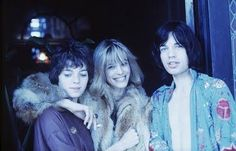 Mick Jagger and Anita Pallenberg with co star Michèle Breton