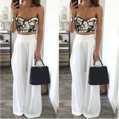 Fashion Womens High Waist Side Zipper Chiffon Long Wide Leg Pants Summer Casual Beach Party Harem Loose Trousers