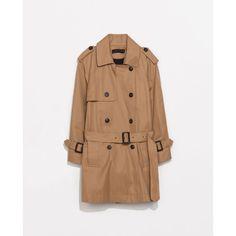 Zara Short Trench Coat (905 EGP) ❤ liked on Polyvore featuring outerwear, coats, zara, coats & jackets, tan, trench, fur-lined coats, short coat, zara coats and trench coats