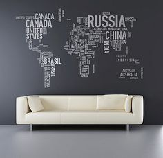 Map of the world Wall Sticker, $146.13  This is so damn cool, I wish that I could justify spending that much!