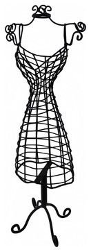 Decorative Black Metal Dress Form Statue 18 In. contemporary accessories and decor