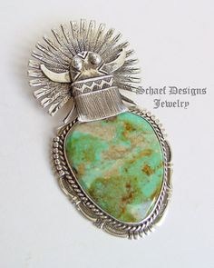 Bennie Ration turquoise & sterling silver kachina large pendant | New Mexico