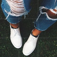 Michela in the Dr. Marten's 1461 3-Tie Leather Shoe in White Leather || Get the flats: http://www.nastygal.com/shoes/dr-martens-1461-3tie-leather-shoe--white?utm_source=pinterest&utm_medium=smm&utm_term=ngdib&utm_content=omg_shoes&utm_campaign=pinterest_nastygal
