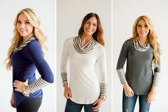 Striped Cowl Neck Bl
