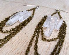 Raw Quartz Chandelier Earrings by xVELVETx on Etsy, $42.00