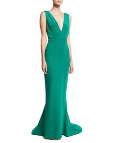 Diane von Furstenberg Deep V Sleeveless Tailored Gown