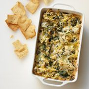 Three-Cheese Artichoke Dip--it'll go fast! #recipes