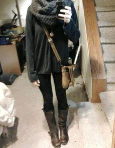 fawningly: todays outfit: baggy sweater, knitted scarf, grandpas vintage clock locket, brown boots, black socks, leggings  satchel
