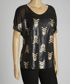 Take a look at this Black & Gold Sequin Skull Cap-Sleeve Top - Plus by Clothing Showroom on #zulily today!