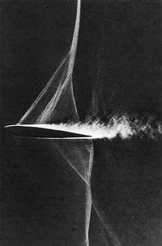 Schlieren photograph of transonic flow over an airfoil. The nearly vertical shock wave is followed by boundary layer separation that adversely affects lift, drag, and other flight parameters.