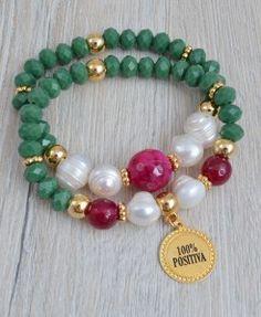 Pulsera de cristal con perla natural y piedra