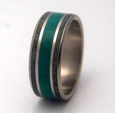 Jade Titanium Ring | Minter & Richter #uniqueweddingrings #titaniumring #weddingring