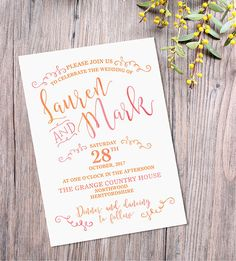 Printable wedding invitation fully personalized with your own details.  Finished artwork supplied as a high-res, print ready PDF file. This will be