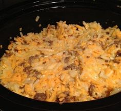 Crock Pot Breakfast Scramble  Ingredients : 12 eggs 1 bag of frozen hash browns 1 16oz roll of sausage (I used Jimmy Dean HOT) 16 oz of sh...
