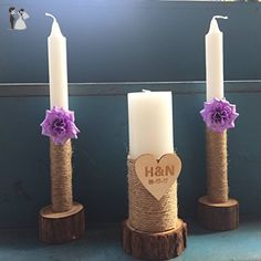 Custom Wedding Unity Candles Set of 3, Rustic Wedding Candles Wedding Ceremony Unity Candle - Venue and reception decor (*Amazon Partner-Link)