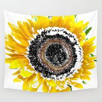 Wall Tapestries featuring Sunflower by Regan's World