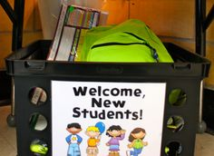 new student crate (for all those move ins!)  Here are some things I've included in the crate:      •Nametags (desk plates) with a Sharpie attached, to fill out right away.  •Homework binder  •Notebook  •Pens and pencils  •Storage baskets for the student's desk  •Other miscellaneous supplies that might be needed  This has saved a lot of time and energy-...