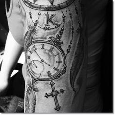 dreamcatchers pocket watch tattoo