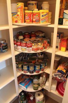 Lazy susan corner shelves!  Pantry Ideas | Inspiration@OBN