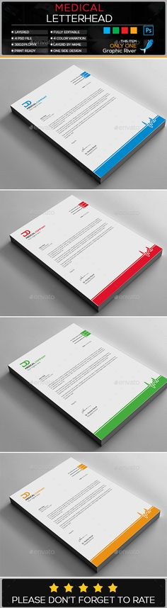 Letterhead Design Template Bundle - Stationery Print Template PSD - psd letterhead template