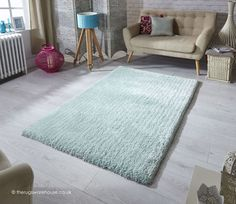 Softness Mint Rug, a plain shaggy rug made using a plush microfiber polyester yarn http://www.therugswarehouse.co.uk/shaggy-rugs/softness-rugs/softness-mint-rug.html #rugs #shaggyrugs