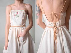 1950's Ivory Open back Cotton dress / Summer by vintagepussy