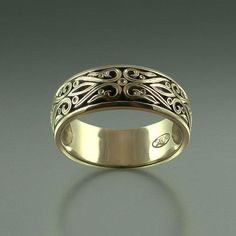 The PRINCE CHARMING 14K gold mens wedding band by WingedLion