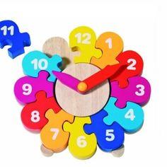 Klocka i trä - pussel med siffror - blomma | Siffror - - Pedagogiska