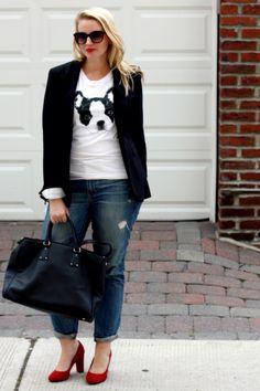 effortless style: boston terrier tee, boyfriend jeans, red heels and a blazer