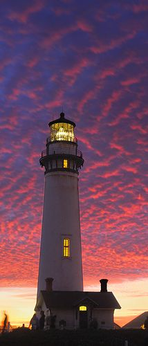 Pigeon Point lighthouse at sunset ~ The lighthouse and the land around have been preserved as Pigeon Point Light Station State Historic Park, a California state park. The lighthouse is also listed on the National Register of Historic Places and designated as a California Historical Landmark.