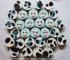 """PAULINE BAKES THE CAKE!: Romeo's 1st """"Baby Blue and Cow Print"""" Party Cakes"""