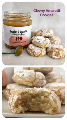 Chewy Amaretti Cookies with Peaches & Amaretto Quick and easy to make these cookies are crisp on the outside, chewy on the inside. Amaretti Biscuits, Biscotti Cookies, Apple Cake Recipes, Cookie Recipes, Dessert Recipes, Italian Desserts, Easy Desserts, Peach Cookies, Cookies
