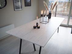 Spisebord - DIY | HVITELINJER : HVITELINJER Dining Furniture, Diy Furniture, Garden Slabs, Home And Living, Living Room, Modern Kitchen Design, Kitchen Interior, Sweet Home, Dining Table