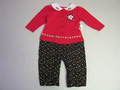 Okie Dokie Outfit 12 M Months One Piece Red Black Girl NEW #OkieDokie