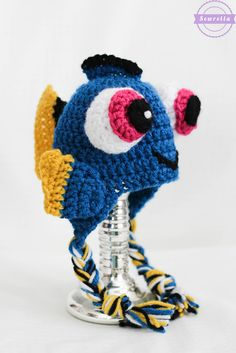 We found her! Make this cute Finding Dory inspired hat with Lion Brand Vanna's Choice! Get the free crochet pattern by Sewrella!