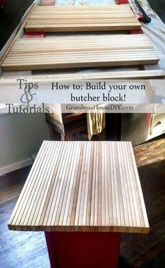 How to: Build your own butcher block DIY for your island or anywhere Wood working diy inexpensive butcher block tutorial ideas tips. See how I built a butcher block for the top of my red kitchen island built out of an old radio cabinet. Diy Butcher Block Countertops, Butcher Block Table Tops, Cheap Kitchen Countertops, Diy Kitchen Island, New Kitchen, Butcher Blocks, How To Build Kitchen Island, Diy Wood Countertops, Diy Table Top