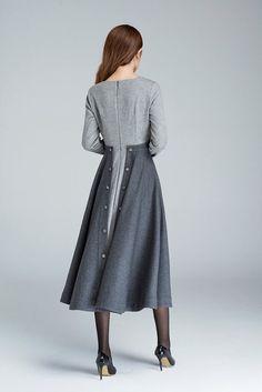 32 Brilliant Midi Skirt Ideas That You Should Not Miss! 32 Brilliant Midi Skirt Ideas That You Should Not Miss! Custom Dresses, Vintage Dresses, Vintage Clothing, Patchwork Dress, Mode Hijab, Wool Dress, Winter Dresses, Dress Winter, Mode Inspiration