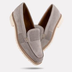 Parker Suede Flat (Soft Grey) by Andre Assous