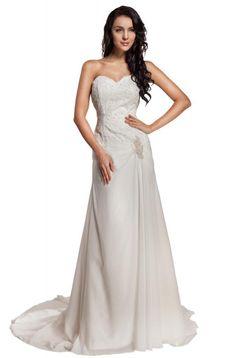 GEORGE BRIDE Sweetheart Chiffon Chapel Train Beach Wedding Dress   Amazon.com