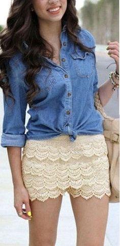 Denim & Lace ♥ http://www.sheinside.com/White-Layered-Crochet-Lace-Shorts-p-113783-cat-1740.html?medium=HardPin=Pinterest=type294=hardpin_type294