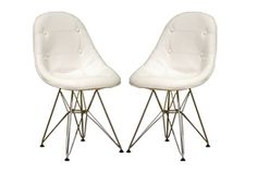 $246 set of 2 faux white leather
